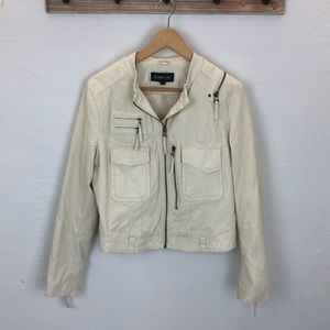 Ivory Faux leather members only jacket